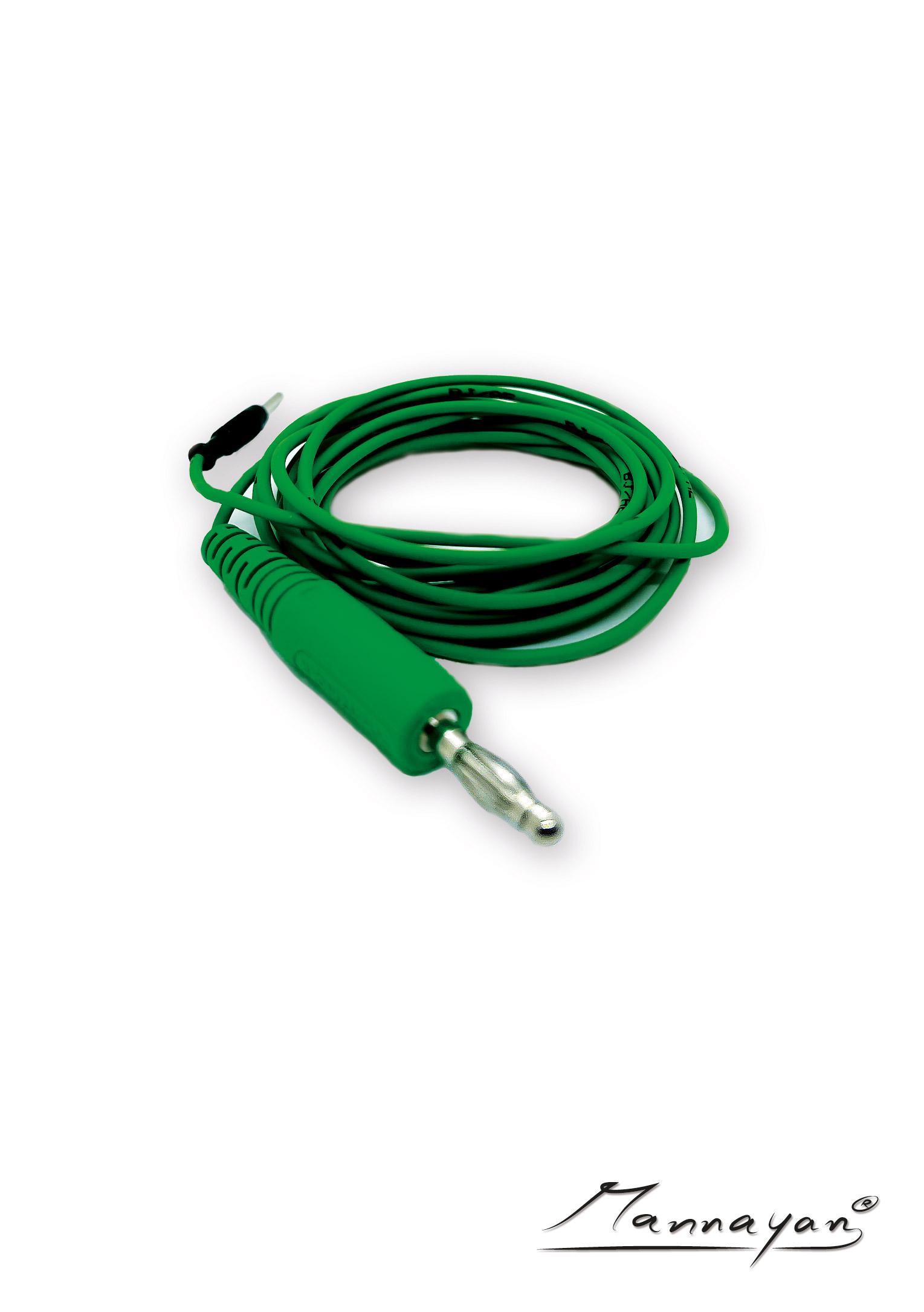 Kabel (2,5 m) mit Druckknopfadapter für Stoff-/ Flächenelektrode (grün)